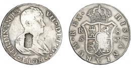 1061  -  COLECCIÓN DE RESELLOS. PORTUGAL. 870 reis. Resello escudo de Portugal sobre 8 reales 1808 Sevilla CN. KM-no. Gomes-no. MBC. Rara.