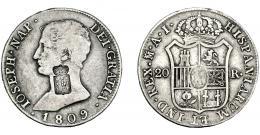1062  -  COLECCIÓN DE RESELLOS. PORTUGAL. 870 reis. Resello escudo  de Portugal sobre 20 reales 1809 Madrid, AI. KM-440.36. Gomes-28.01. MBC-.