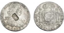 1063  -  COLECCIÓN DE RESELLOS. PORTUGAL. 870 reis. Resello escudo de Portugal sobre 8 reales 1809 México TH. KM-440.14. Gomes-29.15. MBC.