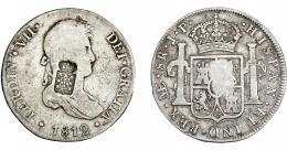 1064  -  COLECCIÓN DE RESELLOS. PORTUGAL. 870 reis. Resello escudo de Portugal sobre 8 reales 1812 Lima JP. KM-440.33. Gomes-29.21. BC+/MBC.
