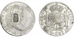 1065  -  COLECCIÓN DE RESELLOS. PORTUGAL. 870 reis. Resello escudo de Portugal sobre 8 reales 1814 México JJ. KM-440.15. Gomes-29.26. MBC.