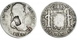 1066  -  COLECCIÓN DE RESELLOS. PORTUGAL. 870 reis. Resello escudo de Portugal sobre 8 reales 1814 Lima JP. KM-440.33. Gomes-29.29. BC+/MBC-.