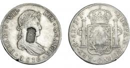 1067  -  COLECCIÓN DE RESELLOS. PORTUGAL. 870 reis. Resello escudo de Portugal sobre 8 reales 1816 México JJ. KM-440.15. Gomes-29.35. MBC/MBC+.