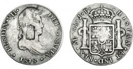 1069  -  COLECCIÓN DE RESELLOS. PORTUGAL. 870 reis. Resello escudo de Portugal sobre 8 reales 1818 México JP, rectificada de Lima, posiblemente en la época. KM-440.15. Gomes-29.42. Rayas. MBC-.