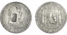 1070  -  COLECCIÓN DE RESELLOS. PORTUGAL. 870 reis. Resello escudo de Portugal sobre 8 reales 1819 México JJ. KM-440.15. Gomes-29.48. MBC.