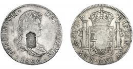 1071  -  COLECCIÓN DE RESELLOS. PORTUGAL. 870 reis. Resello escudo de Portugal sobre 8 reales 1820 México JJ. KM-440.15. Gomes-29.52. La moneda MBC, el resello EBC.