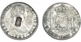 1072  -  COLECCIÓN DE RESELLOS. PORTUGAL. 870 reis. Resello escudo de Portugal sobre 8 reales 1821 México JJ. KM-440.15. Gomes-29.55. MBC+.
