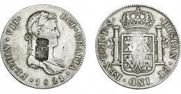 1073  -  COLECCIÓN DE RESELLOS. PORTUGAL. 870 reis. Resello escudo de Portugal sobre 8 reales 1821. Guadalajara FS. KM-440.17. Gomes-29.59. MBC.