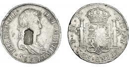 1075  -  COLECCIÓN DE RESELLOS. PORTUGAL. 870 reis. Resello escudo de Portugal sobre 8 reales 1824 Potosí J. KM-440.33. Gomes-29.67. MBC+.
