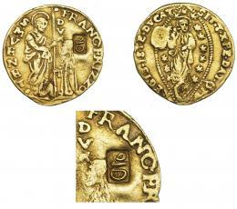 1076  -  COLECCIÓN DE RESELLOS. IMPERIO OTOMANO. Resello otomano sobre ducado veneciano a nombre de FRANC. FRIZZO. MBC.