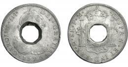 1077  -  COLECCIÓN DE RESELLOS. TRINIDAD Y TOBAGO. 9 chelines. Agujero octogonal en el centro de 8 reales 1773, México, FM. KM-AI 4.1. BC+/MBC-.