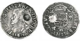 1078  -  COLECCIÓN DE RESELLOS. PAÍSES BAJOS. Resello de Zelanda sobre 1/2 Filipsdaalder 1571 Amberes. Delmonte-51. MBC-/MBC.