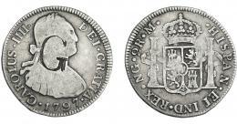 1080  -  COLECCIÓN DE RESELLOS. Resello G sobre 2 reales 1797 Nueva Guatemala, M. MBC-.