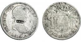 1081  -  COLECCIÓN DE RESELLOS. Resello JME dentro de rectángulo sobre 4 reales 1819 Lima JP. Punzones y rayas en rev. BC+.