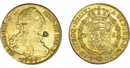 1082  -  COLECCIÓN DE RESELLOS. Resello AVT coronadas sobre 8 escudos 1797 Santiago DA. Hojitas. MBC/MBC+.