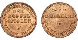 1087  -  MONEDAS EXTRANJERAS. ESTADOS ALEMANES. KÖLN. Prueba en cobre de Doppelpistole.Uhlhorn Grevenbroich. En el campo ASPERA TERRENT 1848. AE 7,43 g. B.O. SC. Rara.