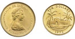 1090  -  MONEDAS EXTRANJERAS. BAHAMAS. 10 dólares. 1972. KM-34. B.O. SC.