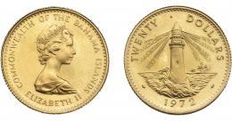 1091  -  MONEDAS EXTRANJERAS. BAHAMAS. 20 dólares. 1972. KM-35. BO. SC.