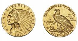 1093  -  MONEDAS EXTRANJERAS. ESTADOS UNIDOS DE AMÉRICA. 2,5 dólares. 1911. KM-128. EBC-.