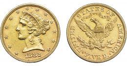1095  -  MONEDAS EXTRANJERAS. ESTADOS UNIDOS DE AMÉRICA. 5 dólares. 1882. KM-101. EBC-.