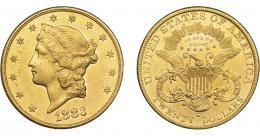 1096  -  MONEDAS EXTRANJERAS. ESTADOS UNIDOS DE AMÉRICA. 20 dólares. 1883-S. KM-74.3. Pequeñas marcas. R.B.O. EBC.