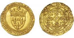 1099  -  MONEDAS EXTRANJERAS. FRANCIA. Carlos VI. Escudo de oro (1380-1422). A/ KAROLVS DEI GRACIA FRANCORVM REX. R/ XPC REGNAT XPC IMPERAT VINCIT. FR-291. EBC-/MBC+.