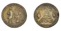 1100  -  MONEDAS EXTRANJERAS. GRAN BRETAÑA. Medalla. Vernon. 1739. Toma de Portobello. DON BLAS en anv. 28 mm. MBC-. Muy escasa.