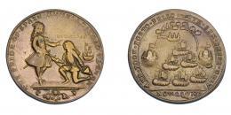 1101  -  MONEDAS EXTRANJERAS. GRAN BRETAÑA. Medalla. Vernon. 1739. Toma de Portobello. DON BLAS en anv. 37 mm. MBC-/MBC.