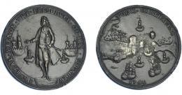 1102  -  MONEDAS EXTRANJERAS. GRAN BRETAÑA. Medalla. Vernon. 1741. Toma de Cartagena. Ex C. Adams. 37,5 mm. Erosión en rev. MBC+.