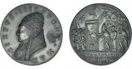 1109  -  MONEDAS EXTRANJERAS. ESTADOS PAPALES. Sixto IV. Medalla. Acuñación s. XIX. R/ Apertura de la puerta Santa (1664). Grabador Girolamo Paladino. Lincoln 399. AE 43 mm. EBC.