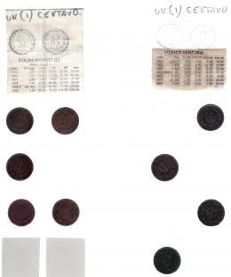 1112  -  MONEDAS EXTRANJERAS. MÉXICO. Colección 1 centavo: C 1901, 1902, 1903, 1904 y 1905 (KM-394), centavo M 1900, 1902, 1903 y 1904 (KM-394.1), centavo 1905-1949 MO, 34 piezas (Km-415) y 1915 (KM416), 1950-1969 (20 piezas KM-417) y 1970-72 (2 piezas KM-418). Total 66 piezas. De MBC- a SC.