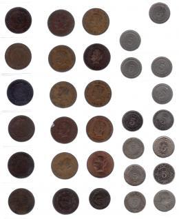 1113  -  MONEDAS EXTRANJERAS. MÉXICO. Colección 2 centavos: 1904-1941 (KM-419-420), 8 piezas 5 centavos 1942-1955, (KM-424) 10 piezas, 5 centavos 1906-1942, KM 421 y 423 13 piezas y 5 centavos 1950, KM-425, 50 centavos 1914-35, KM-422, 17 piezas 5 centavos 1954-1975, 17 piezas KM 426 y 427. Total 65 piezas. De BC+ a SC.