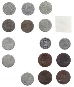 1116  -  MONEDAS EXTRANJERAS. MÉXICO. Colección de 50 centavos: 1905-1917 (9 piezas KM-445); 1918 y 1919 (KM-446); 1955-1959 (4 piezas KM-450); 1919-1945 (12 piezas KM-447), 1950 y 1951 (KM-449), 1964-1980 (14 piezas KM 451 y 452), 1 peso 1970-1981 (13 piezas KM-460), 5 pesos 1971-1978 (7 piezas KM-472), 1980 y 1981 (KM-485); 10 pesos 1974-1981 (KM-477); 20 pesos 1980 y 1981 (KM-486). Total 74 piezas. De MBC a SC.
