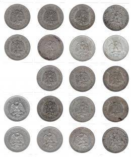 1117  -  MONEDAS EXTRANJERAS. MÉXICO. Colección de monedas de 1 peso 1918 a 1945. KM-454 y 455. Total 19 piezas diferentes. De MBC a EBC.