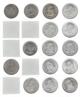 1118  -  MONEDAS EXTRANJERAS. MÉXICO. Colección de monedas de 1 peso: 1947 y 1948 (KM-456), 1950 (KM-457), 1957 (KM-458) y 1957 a 1967, 11 piezas diferentes (KM-459). Total 15 piezas. EBC-/SC.