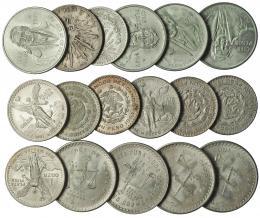 1119  -  MONEDAS EXTRANJERAS. MÉXICO. 8 reales. 1891 México AM; 1 peso 1920; 1 peso (4: 1957-1967); 100 pesos (4: 1977-1979), 1 onza Troy (4: 1949-1980), 1 onza de plata pura (3: 1986-1991). Total 17 piezas. La mayoría SC.