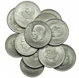 1120  -  MONEDAS EXTRANJERAS. MÉXICO. Lote de 12 monedas de 5 pesos: 1947 y 1948 (KM-465), 1950 (KM-466), 1951, 1952, 1953, 1954 (KM-467), 1955 y 1956 (KM-474), 1955, 1956 y 1957 (KM-469). De EBC- a SC.