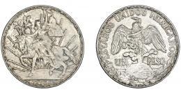 1128  -  MÉXICO. 1 peso. 1914. KM-453. Pátina gris. MBC+. Rara.