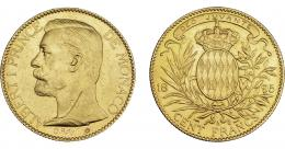 1131  -  MONEDAS EXTRANJERAS. MÓNACO. 100 francos. 1895-A. KM-105. Raya en anv. EBC-.
