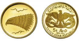 1135  -  MONEDAS EXTRANJERAS. YEMEN. 5 riyals. 1969. KM-6. Prueba.