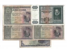 1142  -  BILLETES ESPAÑOLES. Lote de 5 billetes de 500 pts.: 10-1940 (3), 1-1940 y 2-1940. De BC+ a BC-.
