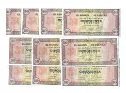 1144  -  BILLETES ESPAÑOLES. Lote de 10 billetes de 50 pts. 5-1938. Serie A con apresto. De SC (5) a EBC-.