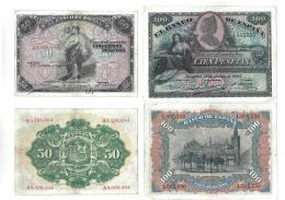 1146  -  BILLETES ESPAÑOLES. Lote de 2 billetes: 50 pts. 9-1906 y 100 pts. 7-1907. MBC-.