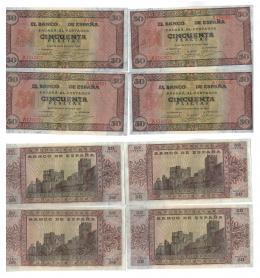 1147  -  BILLETES ESPAÑOLES. Lote de 4 billetes de 50 pts. 5-1938 serie A, correlativos con apresto. ED-D32. SC.