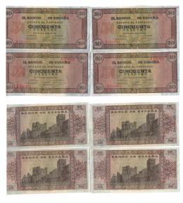 1148  -  BILLETES ESPAÑOLES. Lote de 4 billetes de 50 pts. 5-1938 serie A, correlativos con apresto. ED-D32. SC.