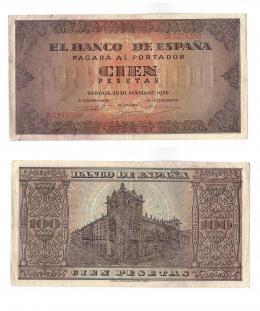 1149  -  BILLETES ESPAÑOLES. 100 pts. 5-1938. Serie A. ED-D33. MBC+.