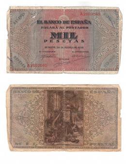 1150  -  BILLETES ESPAÑOLES. 1000 pts. 5-1938. Serie A. ED-D35. Bordes dañados. BC-.