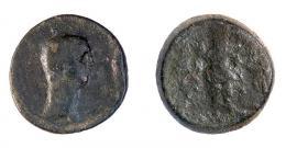 184  -  COLECCIÓN CORES. EBUSUS. CLAUDIO I. Semis. A/ Cabeza a der. R/ Bes con maza y serpiente, a izq. letra fenicia '. AE 9,43 g. 24 mm. RPC-482. APRH-482. ACIP-3184. CC-5165, mismo ejemplar. Pátina oscura. BC/MC. Muy rara.