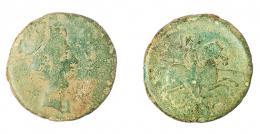 2  -  COLECCIÓN CORES. BILBILIS. AUGUSTO. As. A/ Cabeza a der.; delante (BILBILIS). R/ Jinete lancero a der., debajo (ITALICA). AE 12,11 g. 28 mm. RPC-387. APRH-387. ACIP-1582. CC-4814, mismo ejemplar. Pátina verde. BC-/BC.