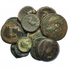 214  -  HISPANIA ANTIGUA. Lote 13 monedas de Castulo: doble, as (5), semis (7). BC+/MBC-.